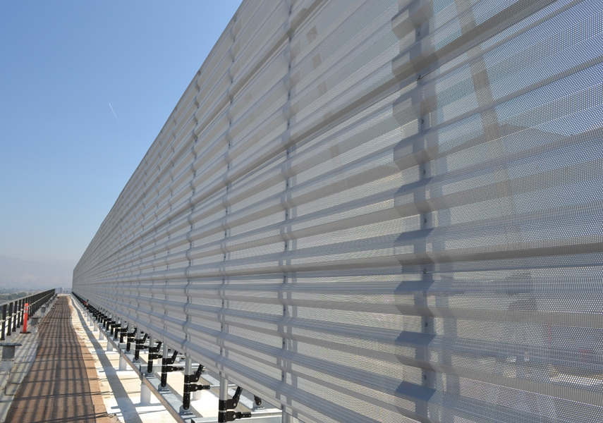 Perforated Panels In A Horizontal Orientation On A Roof Screen