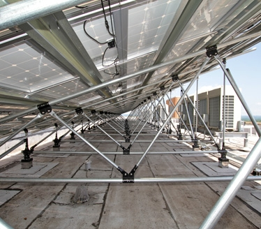 stainless steel connectors for large solar arrays on flat roof buildings