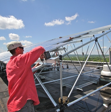 hat rails installed for big rack on commercial solar array