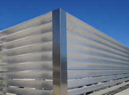 Aluminum Extruded Louvers On Commercial Rooftop Roof Screen.