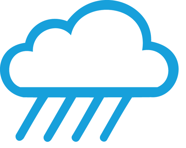 Cloud icon with rain to illustrate that RoofScreens don't leak.