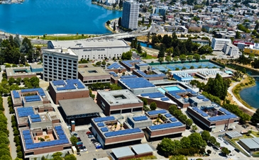 Silverback Solar low profile R-Series arrays on Laney College flat roofs.