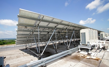 PV large array racking system on high-rise building