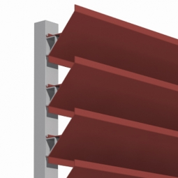 Roof screen angled aluminum continuous louver system.