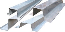 Assortment of structural hat channels and zee sections for use as support girts or furring channels.