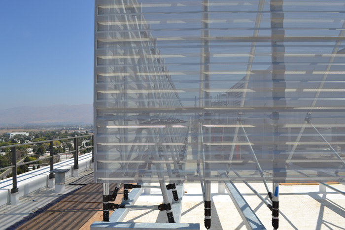 Perforated Aluminum Panels On Samsung Building Roof Screen.